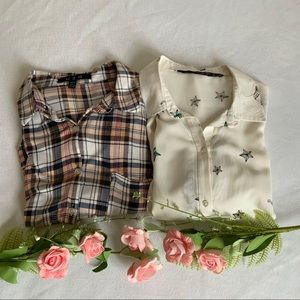 BUNDLE of 2 Fannel Long Sleeve Shirts - Size S/M
